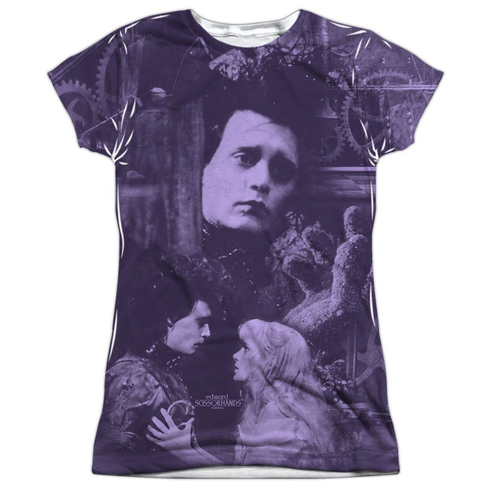 Edward Scissorhands/Story (Front/Back Print) Short Sleeve Junior Poly Crew in White Sleeve-length: Short Sleeve Material: Polyester Style: Tee Neck Style: Crewneck Care Instruction: Machine Wash Size:
