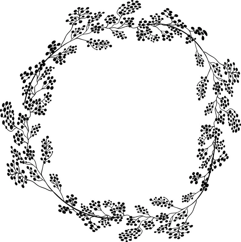 Photo of Geometric vector floral wreath. SVG, EPS, PNG. Round, oval. Hand drawn delicate flowers, branches, leaves, blossom, laurel, rustic botanical
