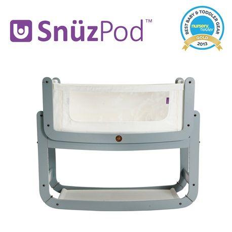SnuzPod Bedside Crib Grey | Bedside Cots | The Little Green Sheep