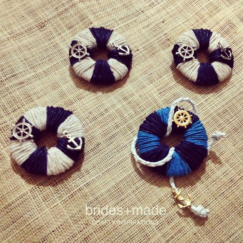 Nautical themed boutonnieres #navyblue #lifesaver | brides+made ...