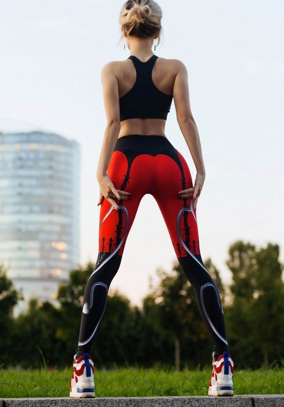 Red Heart Print High Waisted Skinny Yoga Sports Long Legging Trendy Workout Outfits Fitness Leggings Women Trendy Workout