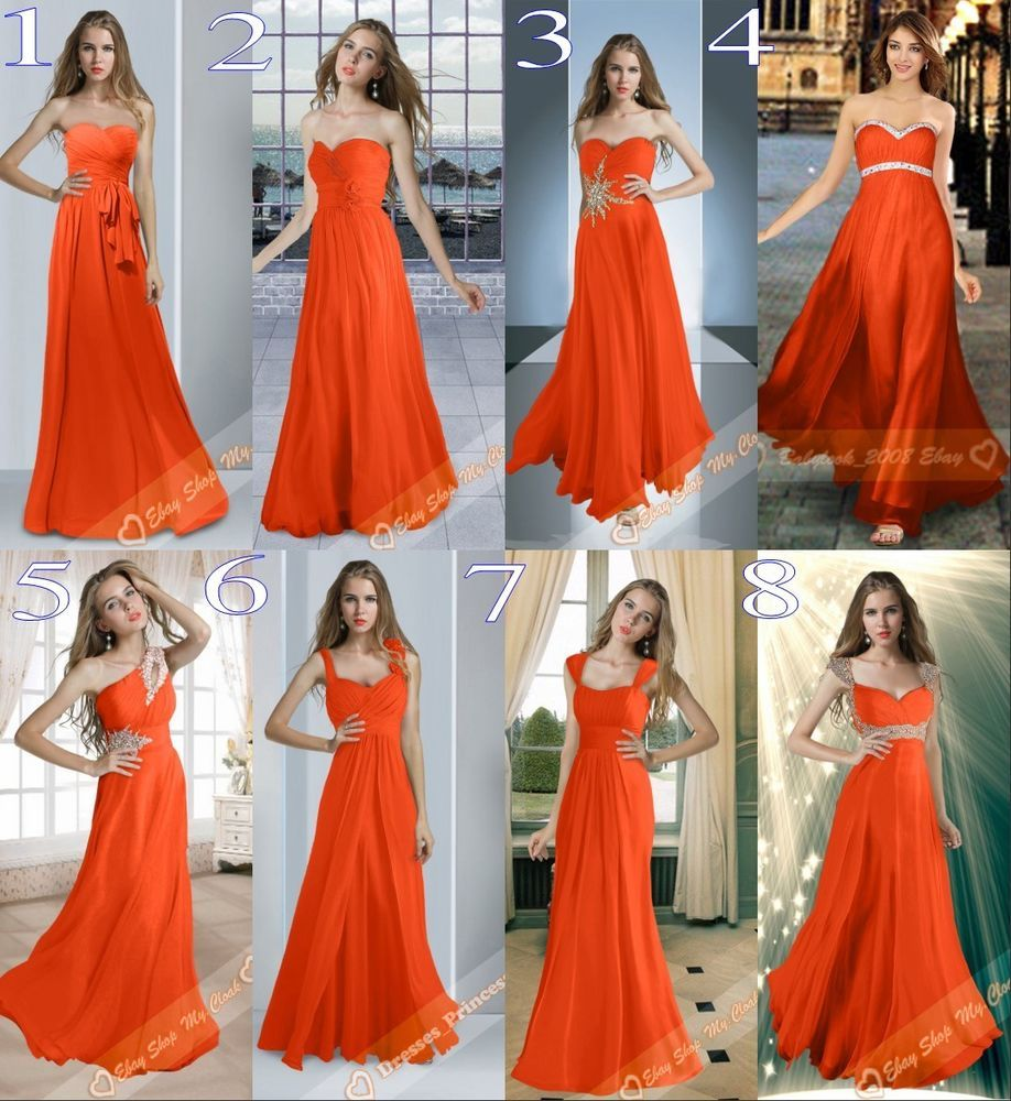 8 Types Long Orange Chiffon Bridesmaids Dresses Evening Prom Gowns
