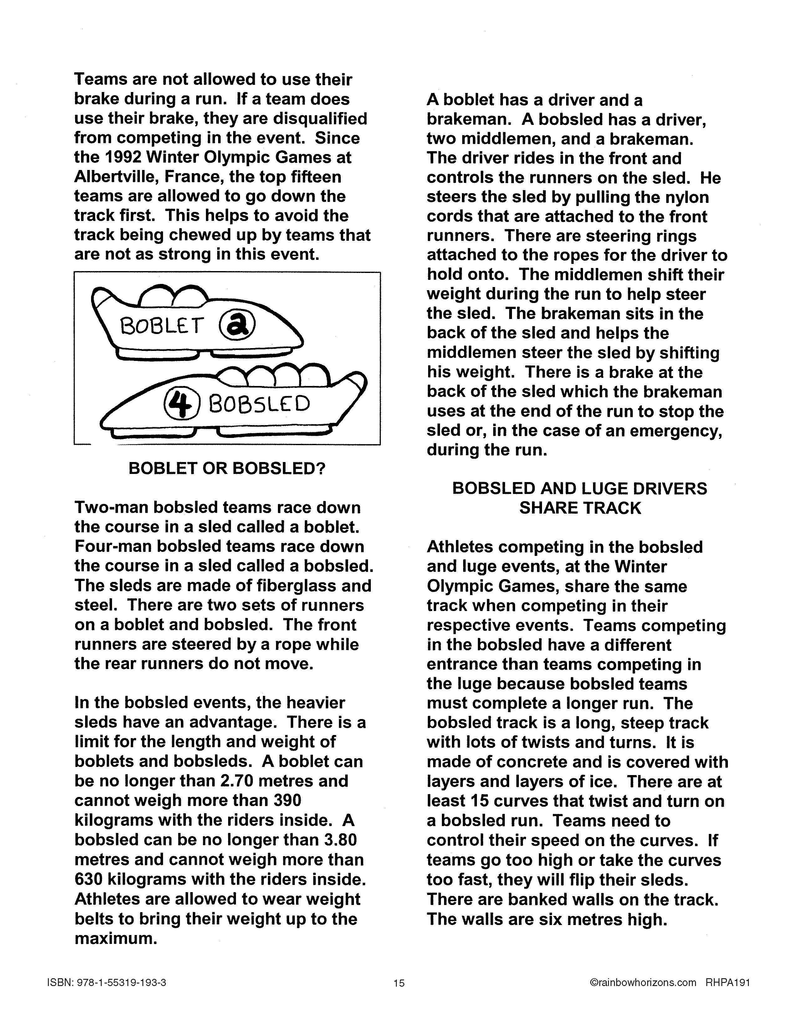 Read A News Article On Bobsled With This 2 Of 2 Free