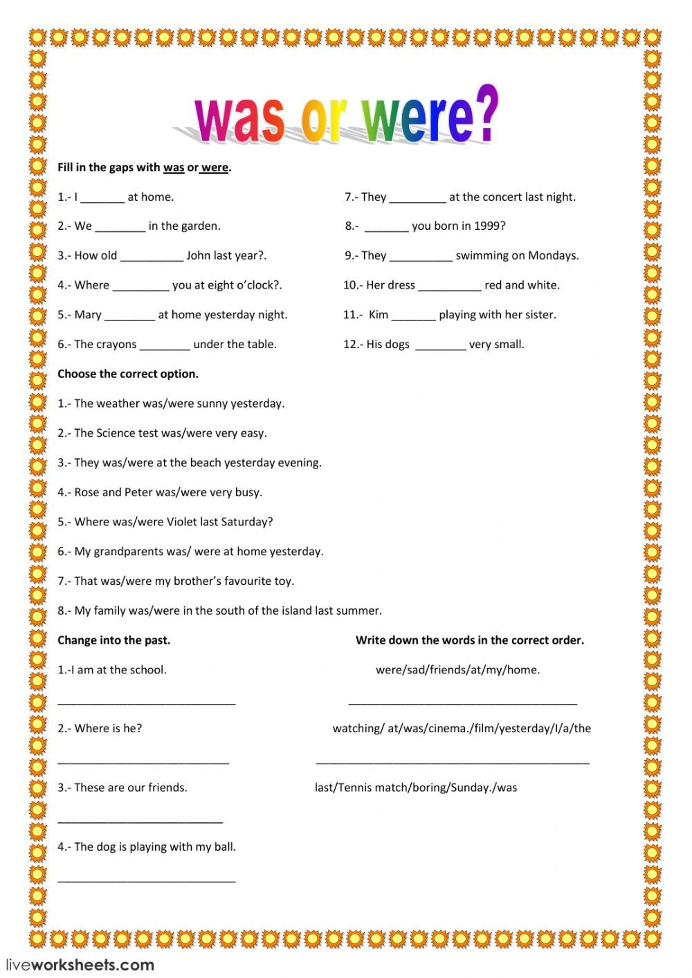Was Were Interactive Worksheet English Worksheets School