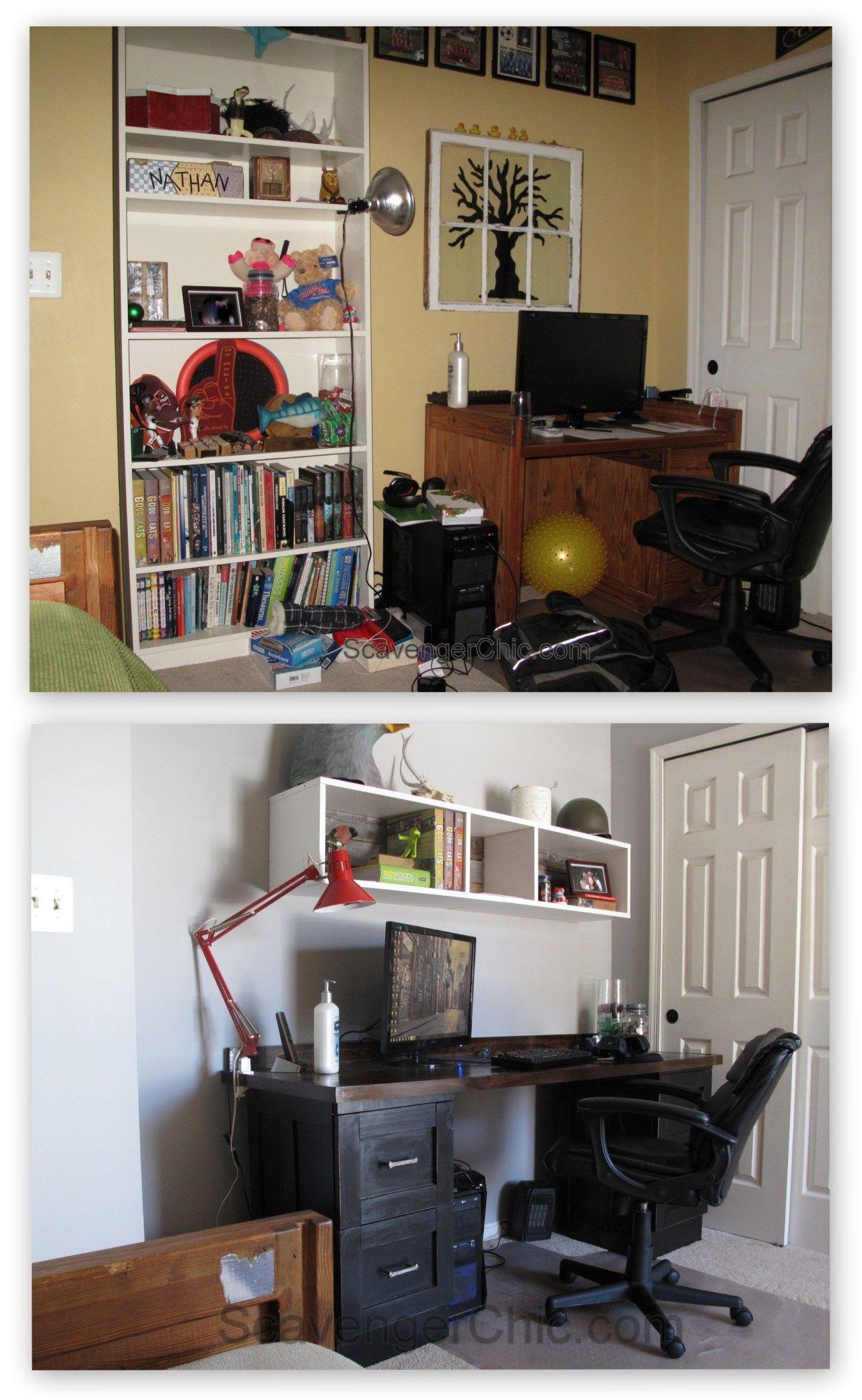 Teenage Boys Bedroom over the desk shelves IKEA hack pallet wood