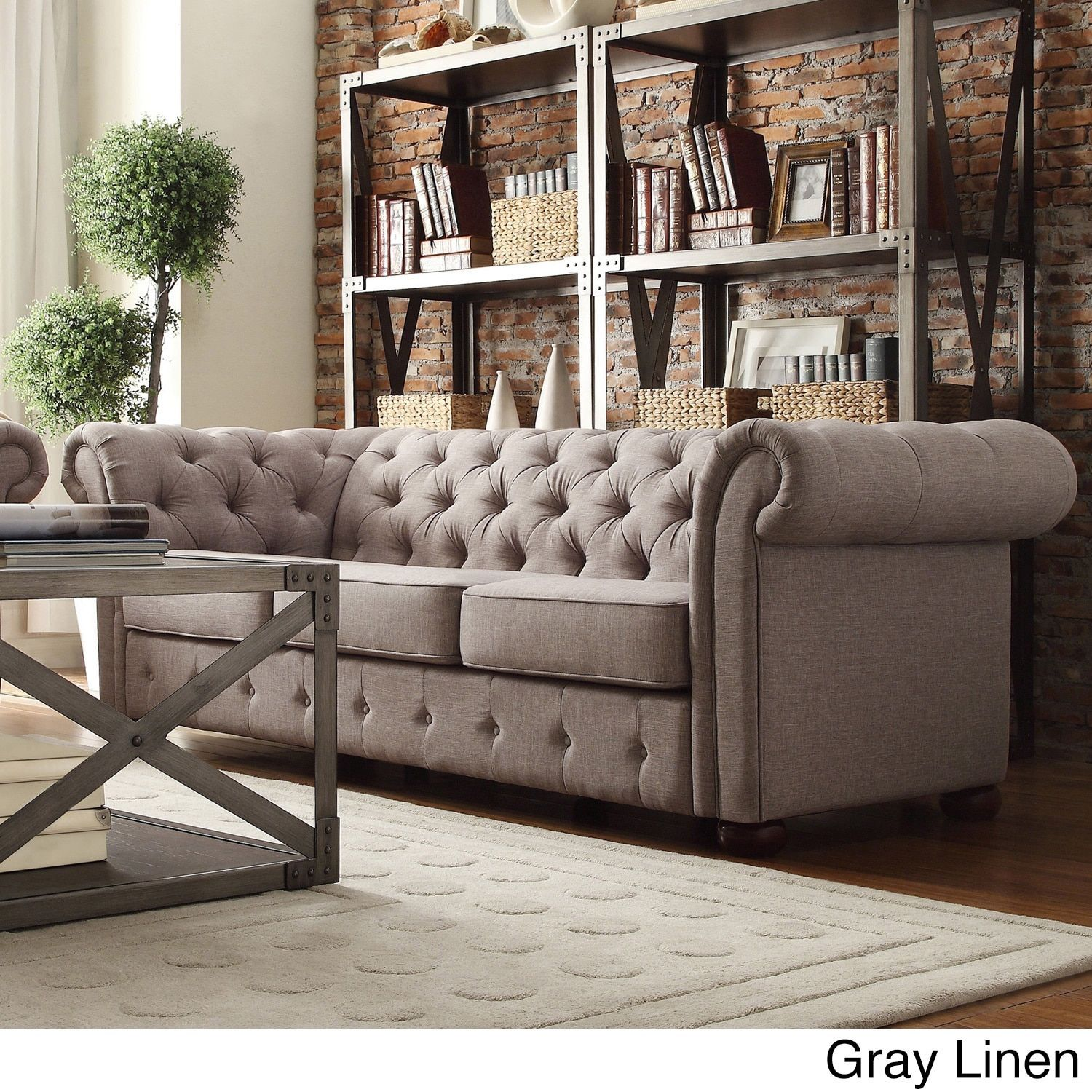 Knightsbridge Tufted Scroll Arm Chesterfield Sofa By Inspire Q Grey Linen