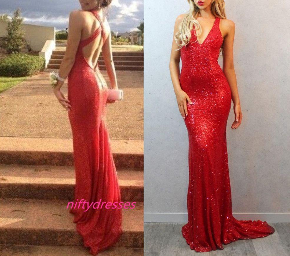 V neck backless prom dress red seq