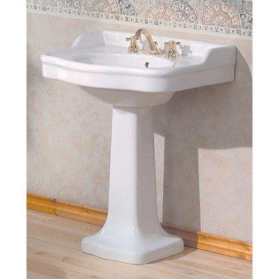 $465 28 Vintagetub.com Cheviot Antique Pedestal Sink 350W28 8 White