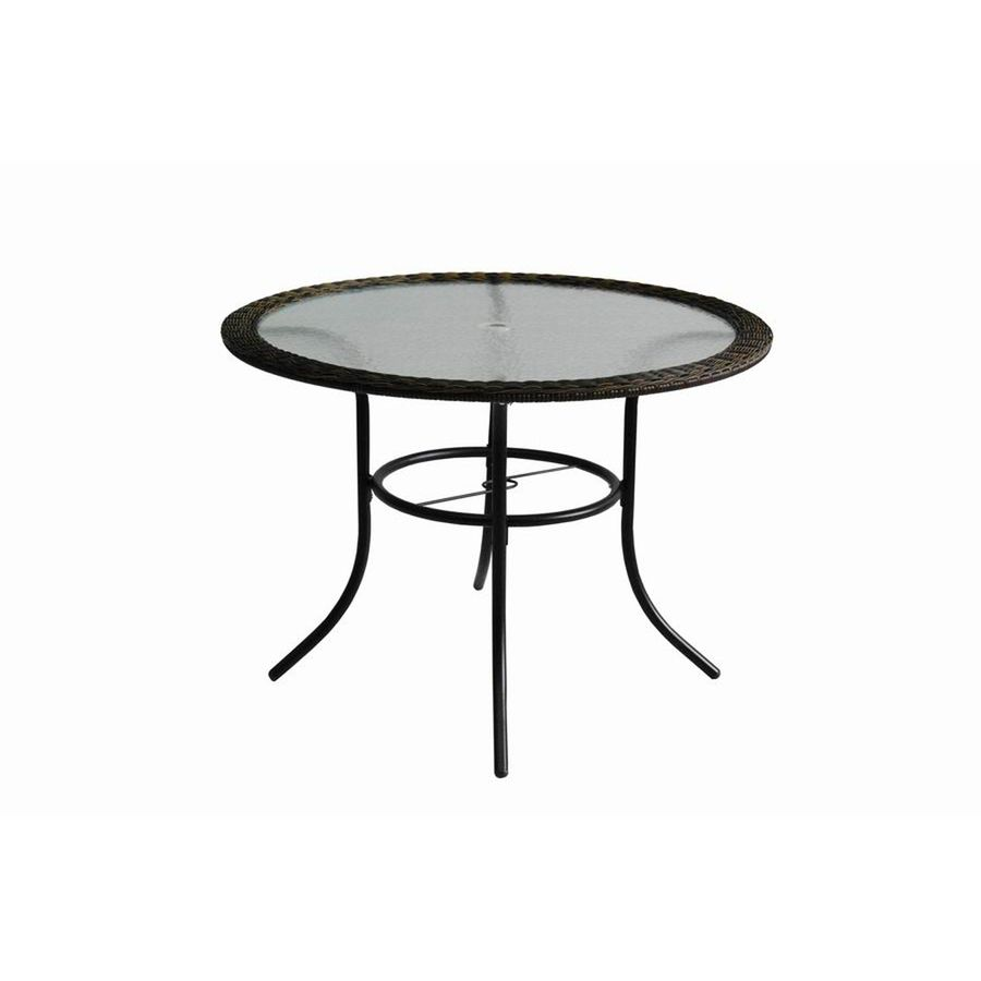 Shop garden treasures severson glass top textured black round patio shop garden treasures severson glass top textured black round patio dining table at lowes watchthetrailerfo