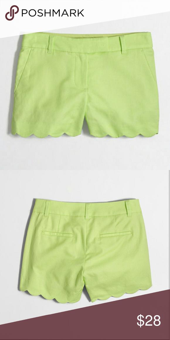 "J. Crew Factory Scalloped Hem Shorts Size 2 NWT J. Crew Factory Scalloped Hem Shorts 55% Linen 45% Cotton Neon Citron Size 2 NWT, Sits At Waist, 4"" Inseam, Slant Pockets, Machine Wash J. Crew Factory Shorts"