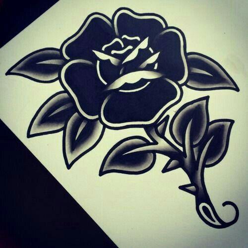 Black Rose Traditional Tattoo Traditional Tattoo Flowers Rose Tattoos