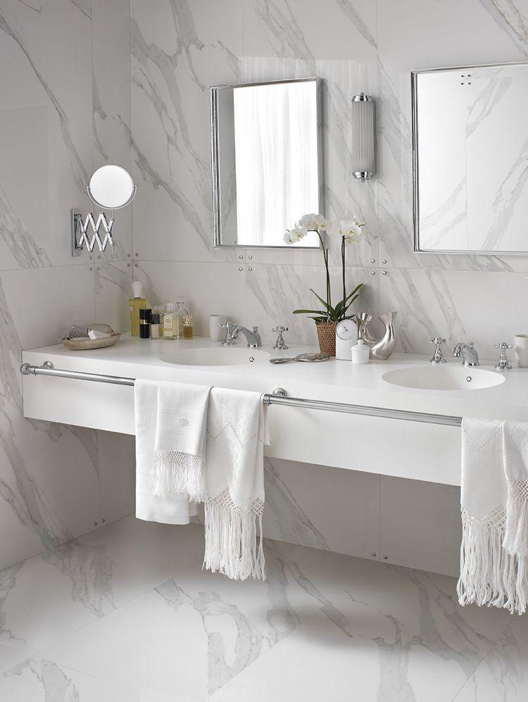 design handwaschbecken badezimmer weiss marmor doppelwaschtisch ...