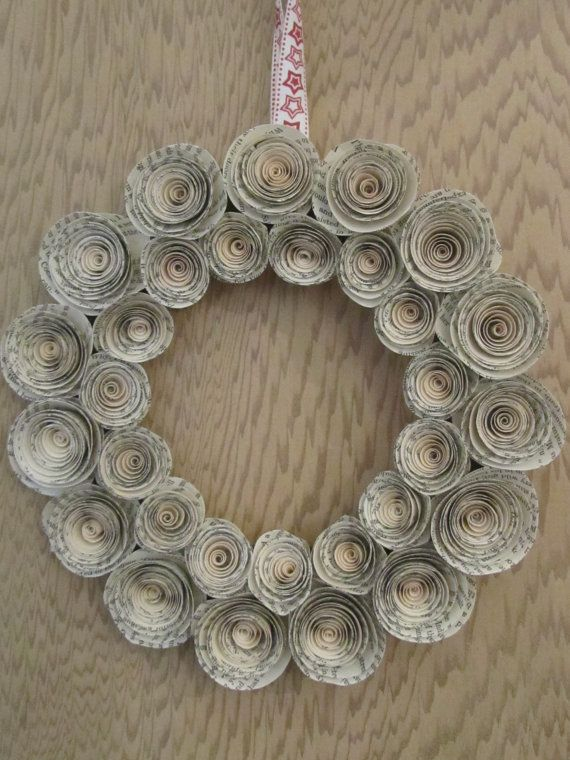 Wreath made using curled paper roses made from vintage book pages decorative wreath made with curled paper flowers mightylinksfo