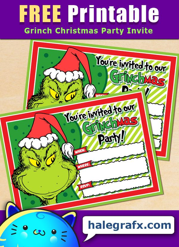 FREE Printable Grinch Christmas Party Invitation Grinch
