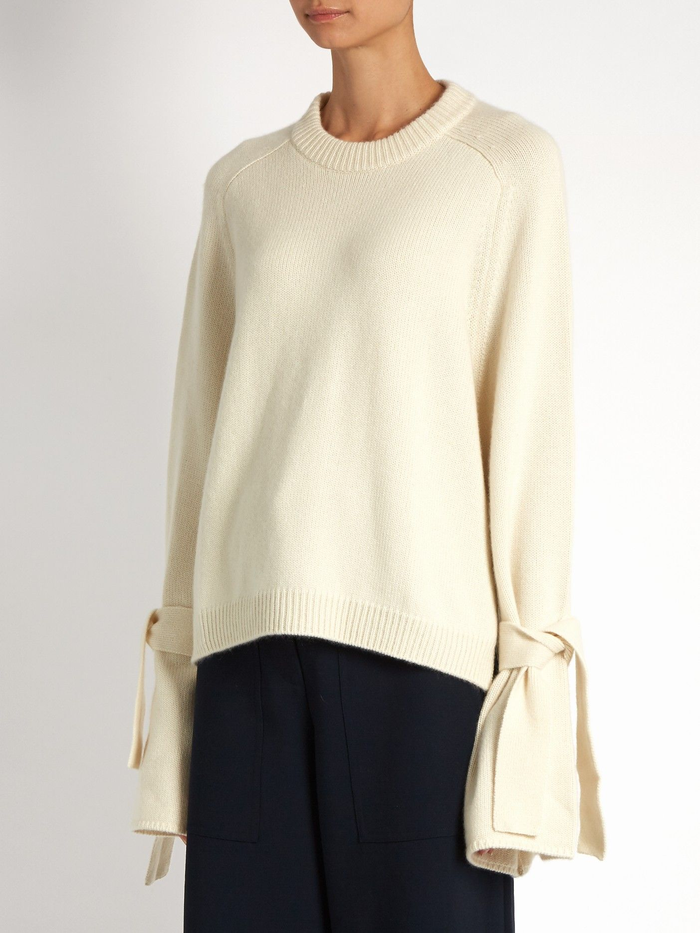 Tie-sleeve cashmere sweater | Tibi | MATCHESFASHION.COM | Shopping ...