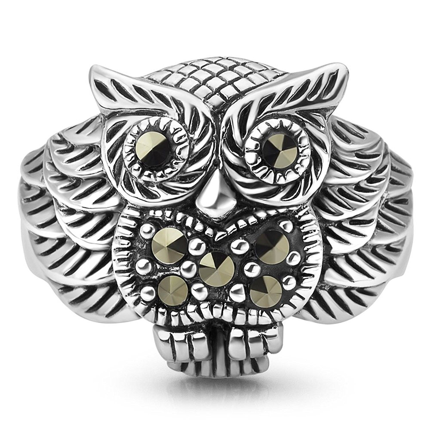 Nickel Free Chuvora 925 Oxidized Sterling Silver Detail Owl Ring