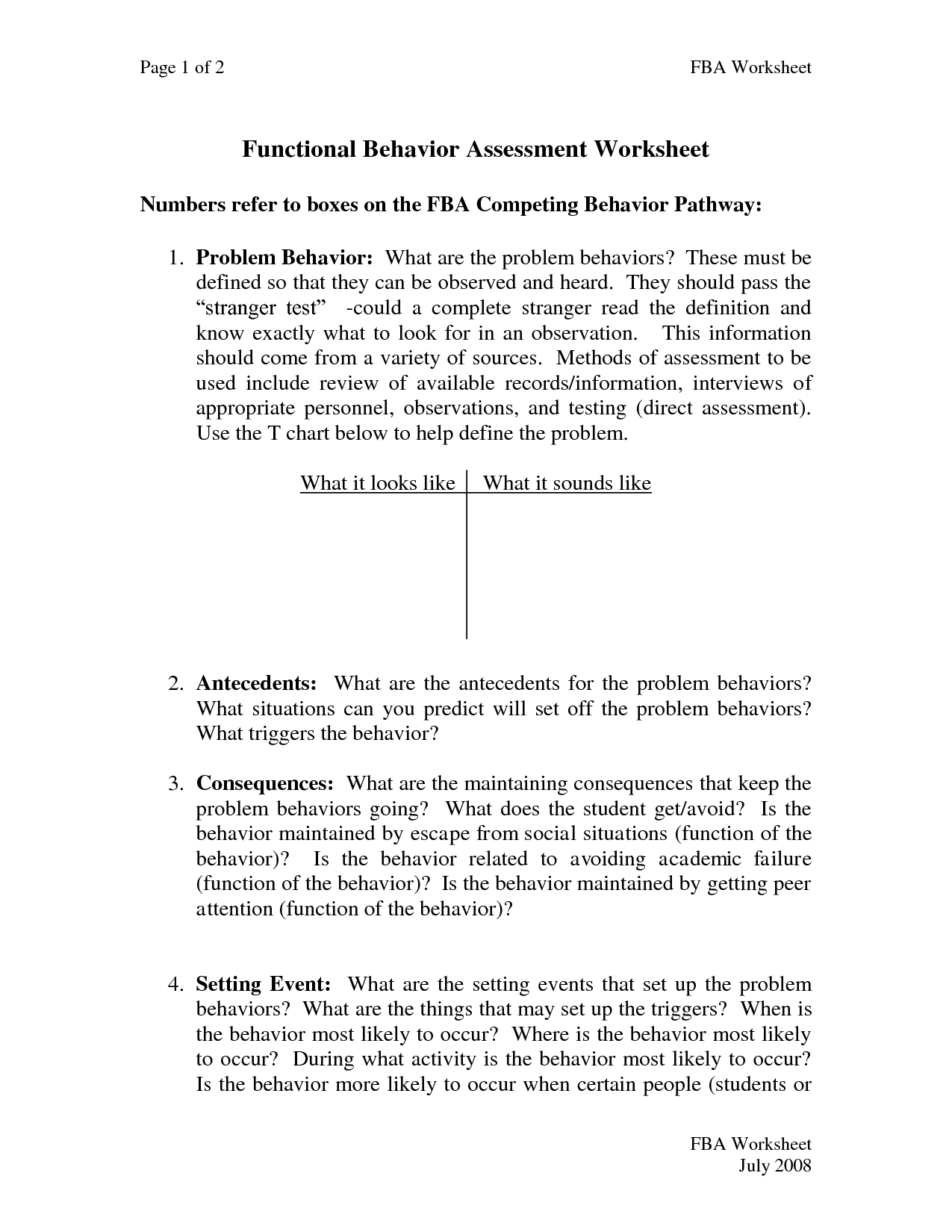 Functional Behavior Plan Sample | Document Sample