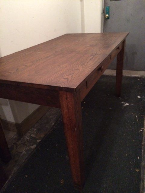 Beau Antique Oak Wood Library Desk / Table With Drawers In Gowanus, Brooklyn ~  Apartment Therapy