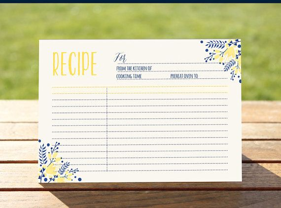 Yellow and Navy recipe card Printable recipe by OnlyPrintableArts - recipe card