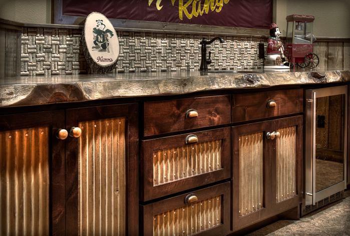 interesting use of metal sheeting on doors backsplash made of wine rh pinterest com Metal Mesh Kitchen Cabinet Base Corrugated Metal Kitchen Cabinet Doors