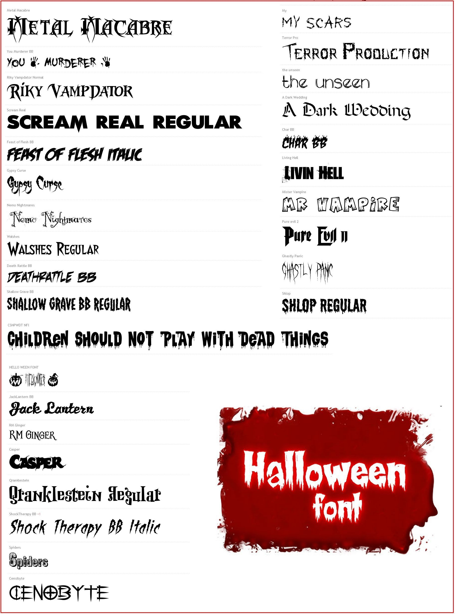 Halloween Themed Fonts Mega Pack 30 Fonts