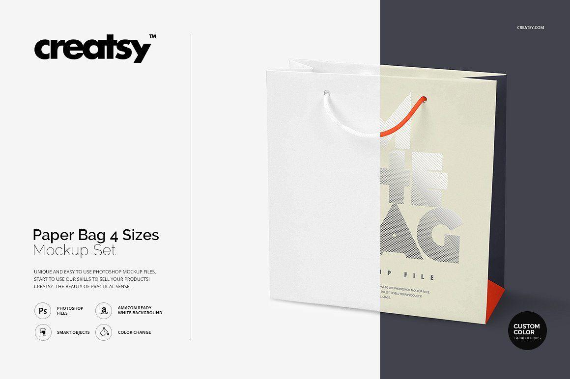 Download Paper Bag 4 Sizes Mockup Set Business Card Logo Mockup Design Business Brochure