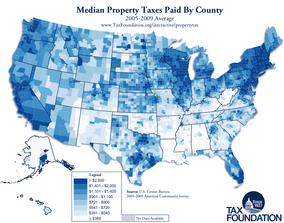 Compare Sales Income And Property Taxes By State Us Map 2011