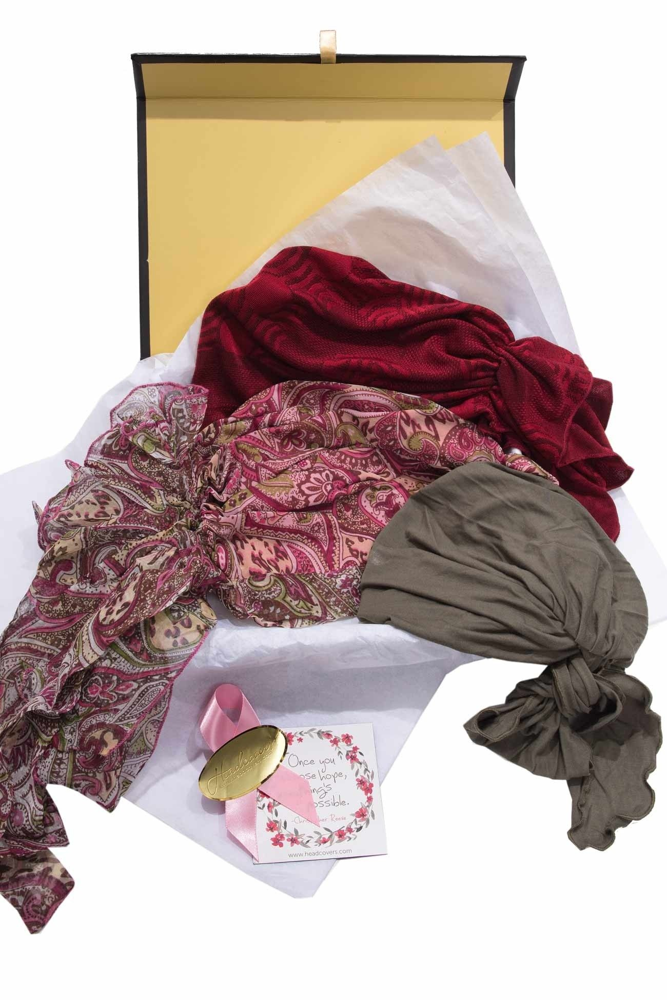 Yuletide Pre Tied Head Scarves Holiday Gift Set This Is A Perfect