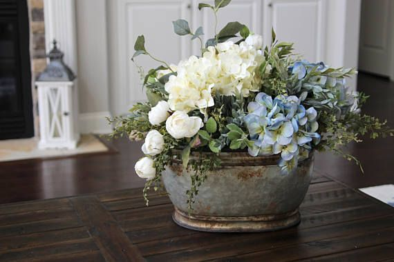 Farmhouse Decor Hydrangea Centerpiece Summer Arrangement Flower Arrangements Floral Arrangements Kitchen Table Centerpiece