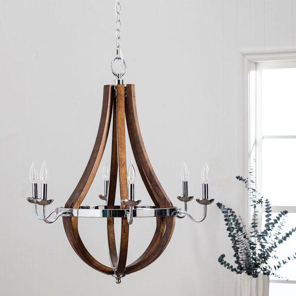 cool chandelier option for main living room-Vineyard Chrome 6-light Chandelier
