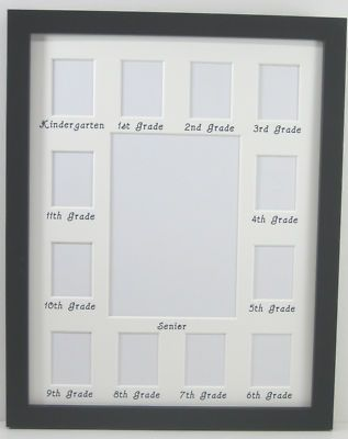 11x14 Collage White Picture Mat School Years Picture Frame Black