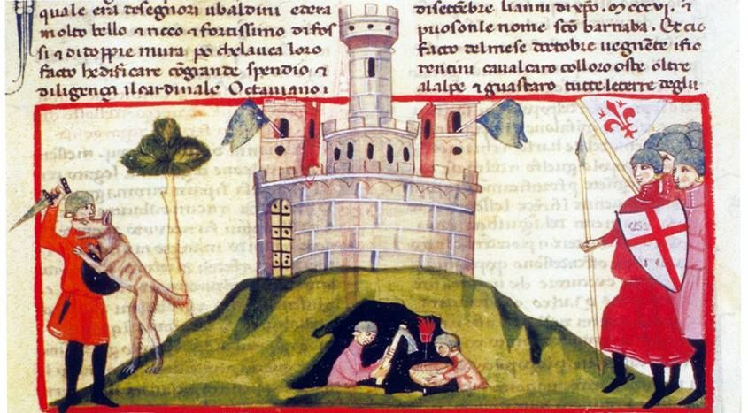 """""""Durante l'assedio sono minate le mura della città"""". Miniatura tratta da la """"Nova Cronica"""" che Giovanni Villani (Firenze 1276 - 1348) iniziò dal 1322 circa."""