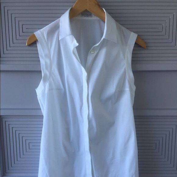 Brunello Cucinelli peplum back, white blouse Brand new, unworn designer blouse. Brunello Cucinelli Tops Blouses