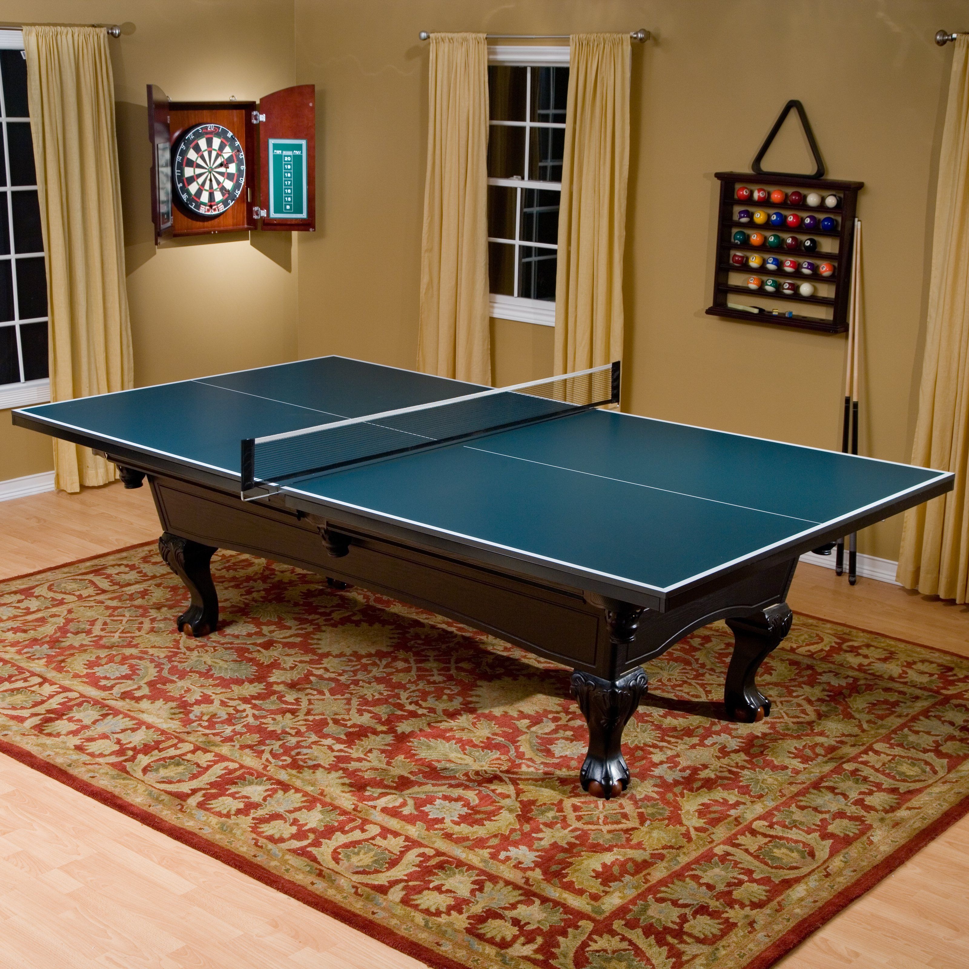 Butterfly 3/4 in. Table Tennis Conversion Top with 2 Player Racket ...