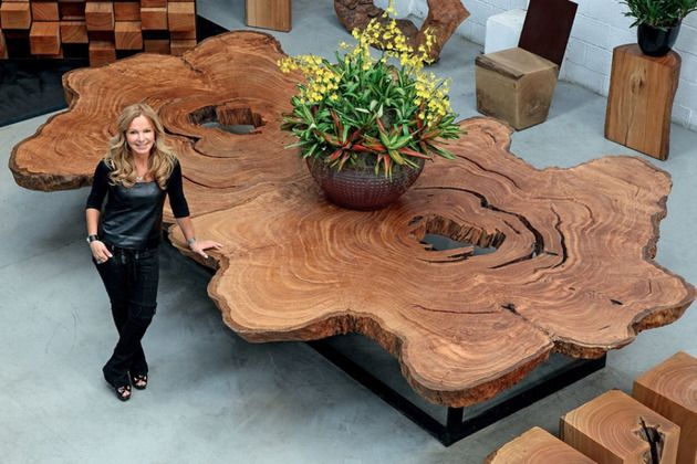 Bon Tora Brasil Live Edge Table With Glass Supports.