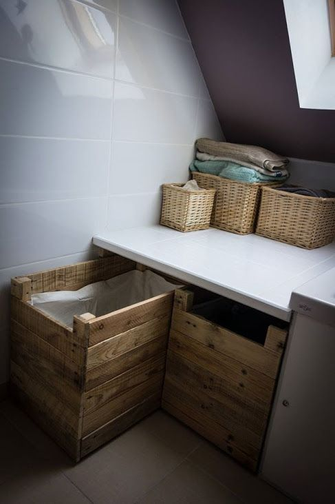 bac linge en palette diy bathrooms pinterest bathroom palette et laundry. Black Bedroom Furniture Sets. Home Design Ideas