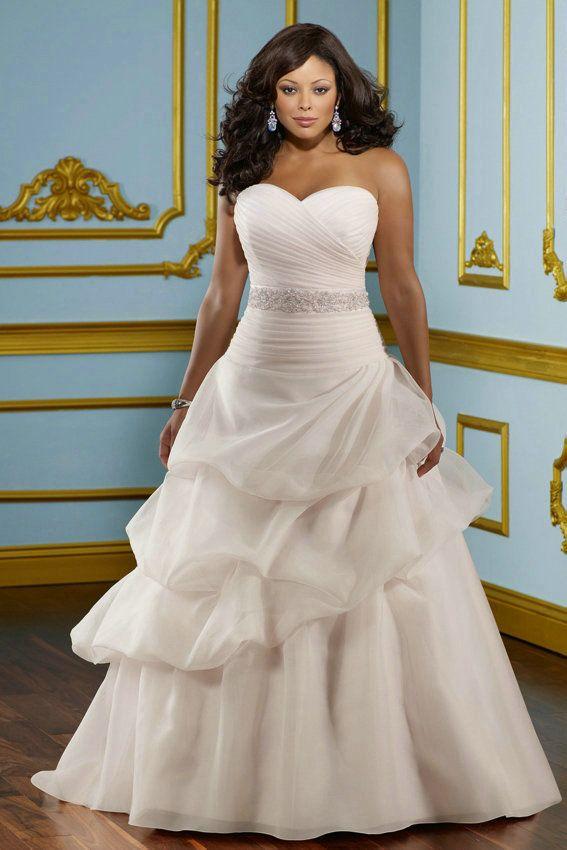 A Line Pick Ups Shirring Sweetheart Organza Princess Wedding Dresses