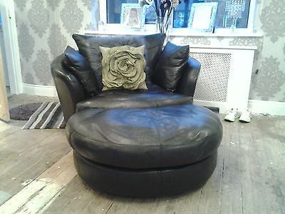 zina swivel chair gym qvc black leather cuddle and large sofa ebay for the