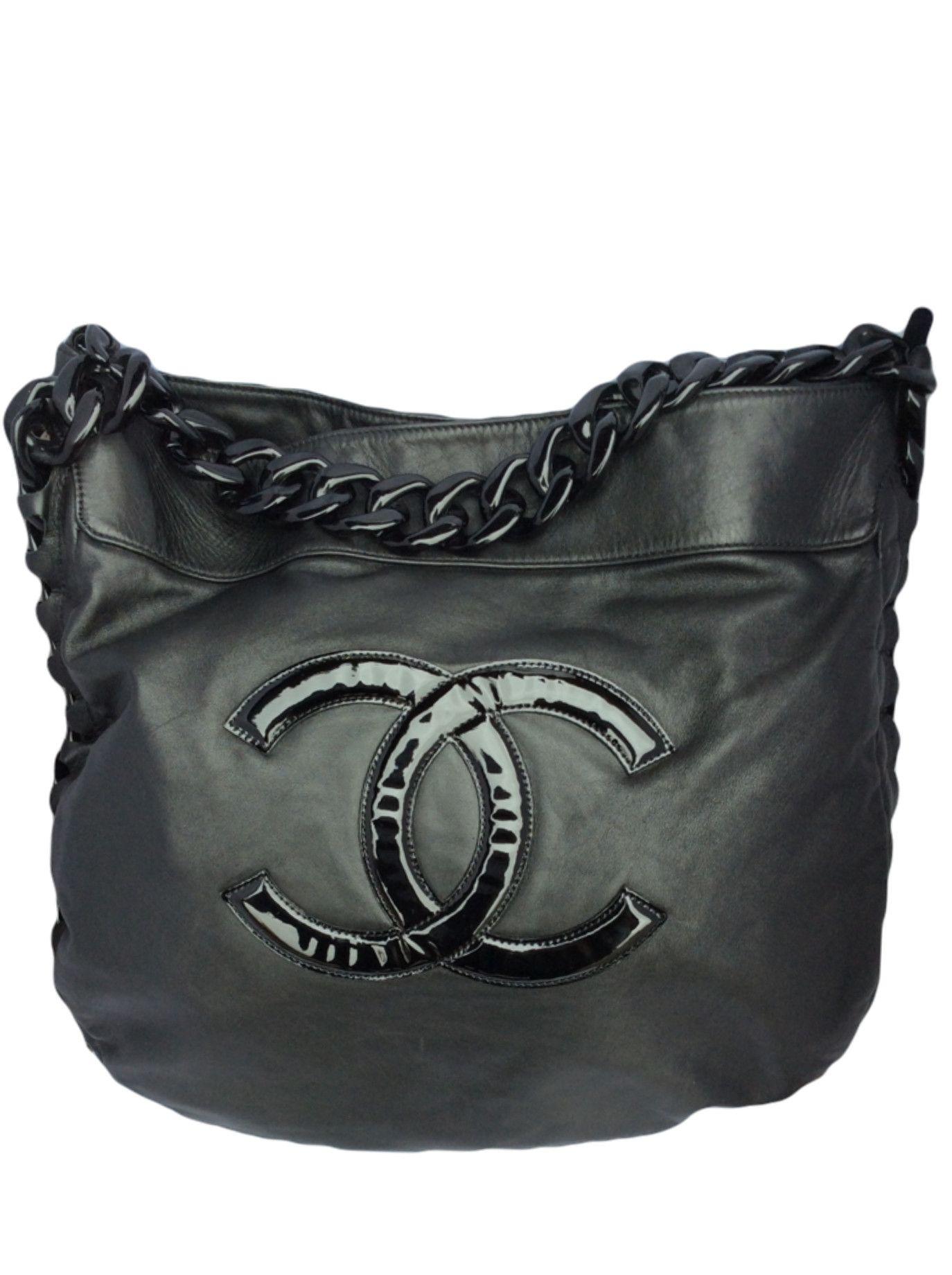 The dress agency - Chanel Jumbo Black Hobo Bag With Plastic Chain Handle Timpanys Dress Agency