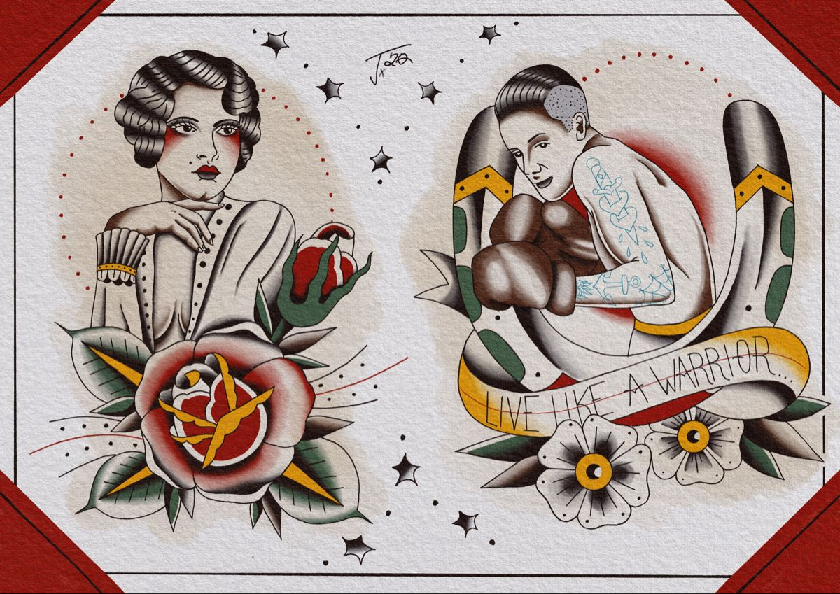 #tattoo #traditionaltattoo #oldschooltattoo #boxtattoo #warriortattoo #flashtattoo #flashart #ladytattoo