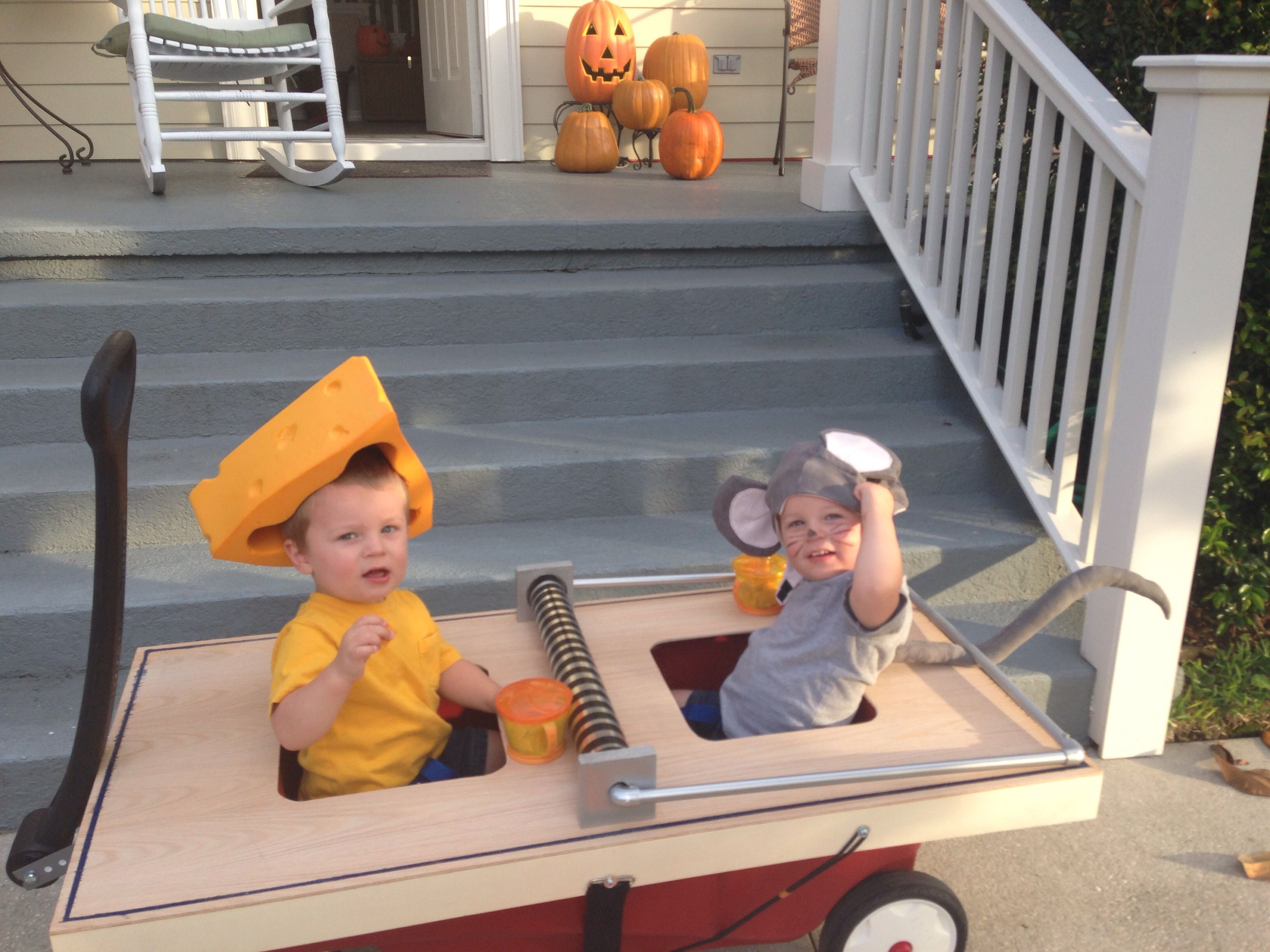 Twin Halloween costume. Mouse and cheese in a mouse trap ...