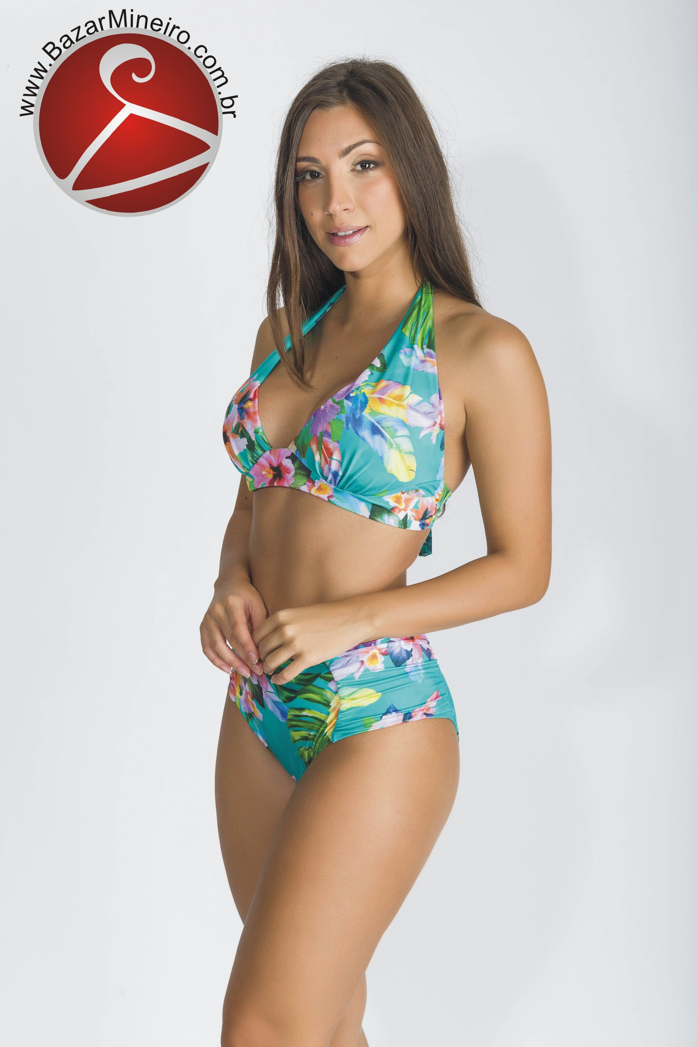 4bc2a4297 Biquíni Cortinão Plus Size - Tropical - Verão 2018 - Tecido com fio de  Lycra®