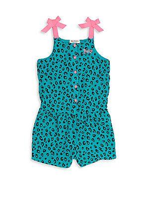 Juicy Couture Little Girl s Leopard Print Short Jumpsuit - Teal - Size e6a699bcb8