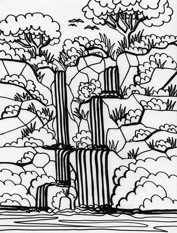 Rainforest Coloring Pages For Adults : Rainforest and waterfalls coloring page