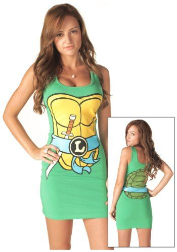 """http://profitpin.com/pinnable-post/trust Prepare to battle Shredder in this sexy TMNT Leonardo blue tank dress. This green turtle tank dress is 94% cotton and 6% spandex for a sexy fit. There is a screen-printed yellow turtle chest on the front with a printed blue sash around the middle. At the center of the sash is a """"L"""" for Leonardo in a black circle. You are armed and ready to go since Leonardo's katana is sticking out under the sash. The back..."""