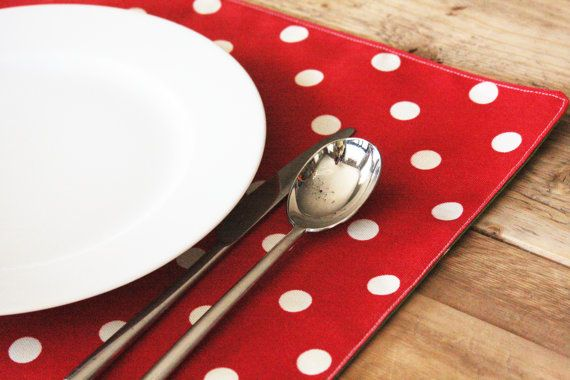 Placemats Just Right Red With White Polka Dots Set Of 2 17 00 Via Etsy