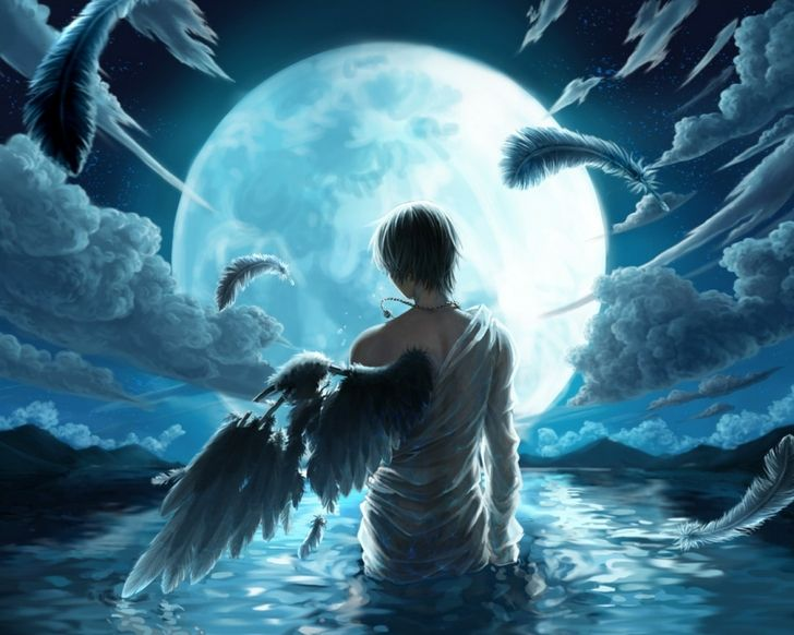 Boy Soakes In The Moonlight Male Angels Angel Wallpaper Anime