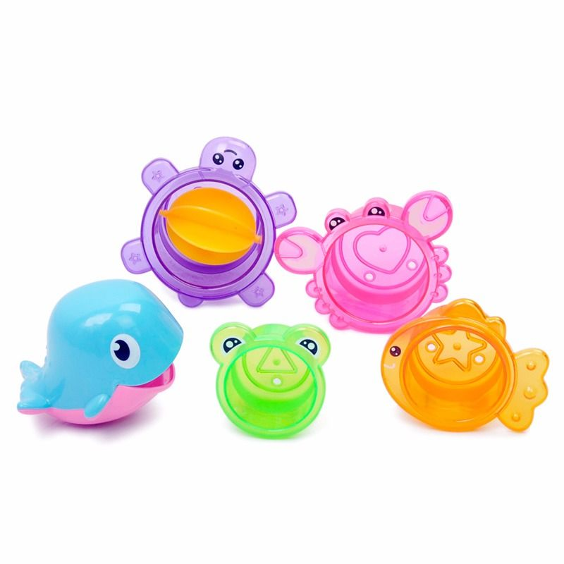 5pcs/Set Animal Bath Toy Kids Whale Stacking Cup Early Education ...