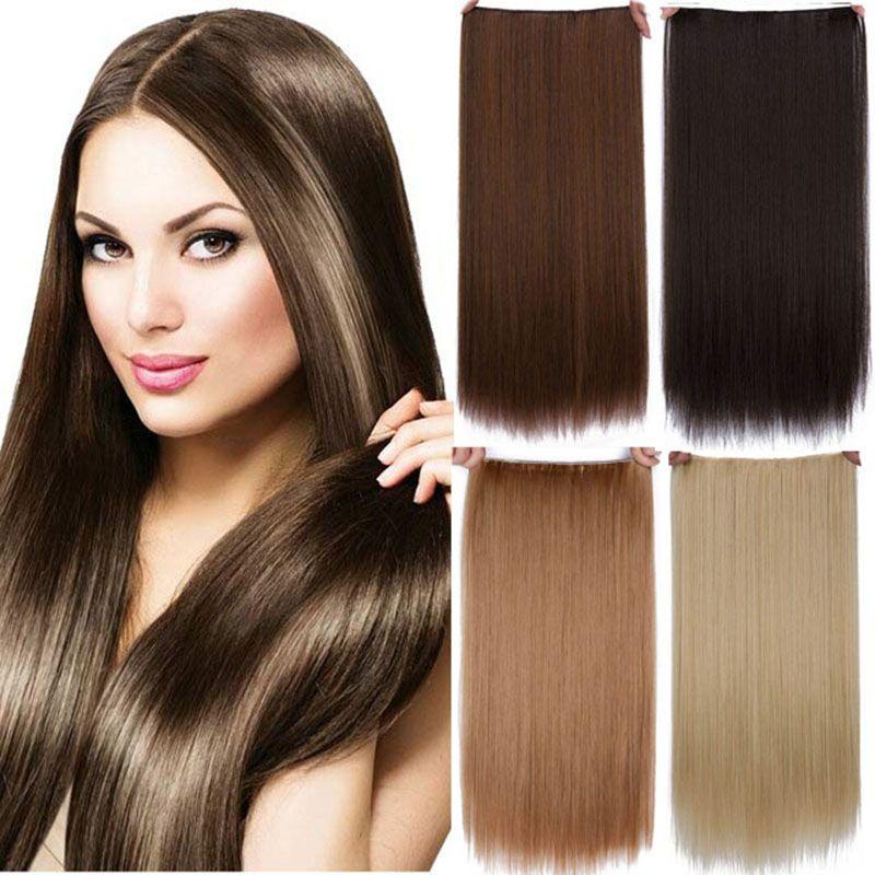 여성 fashon 5 클립 내열 스트레이트 긴 합성 머리 확장 가짜 머리 조각
