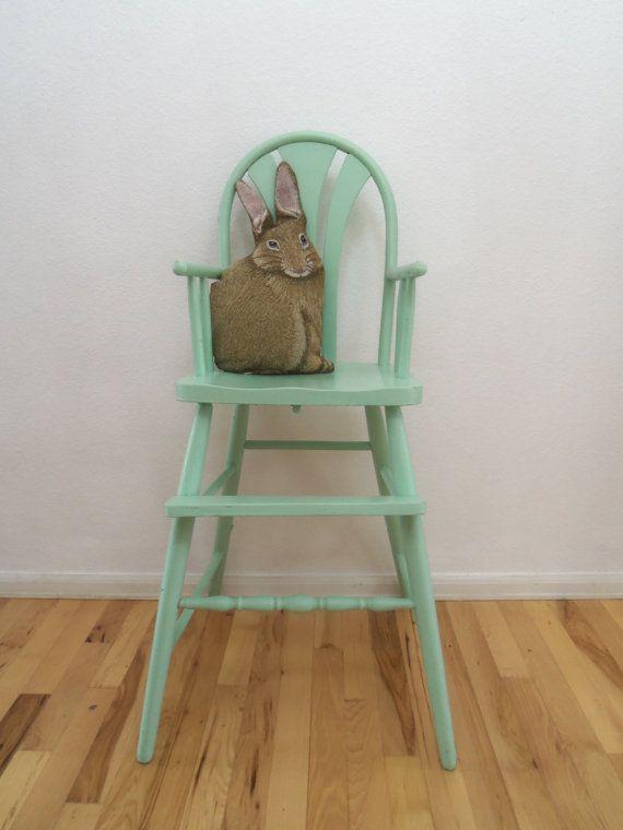 vintage shabby mint green wood high chair pinterest wood high